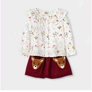 2 piece top and skirt set
